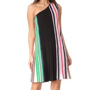 DVF One Shoulder Ribbon Dress Black Size 14 NWT